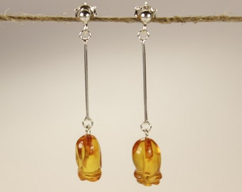 Sterling silver earrings with Baltic amber