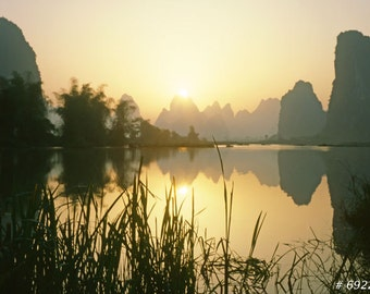 Nature landscape photography - Yangshuo Li river at dawn, Guangxi province, China. Home and office wall decor.