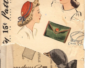 Simplicity 4089  1940's Misses' and Woman's Accessory Set   ID429 sewing pattern