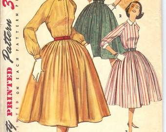 Simplicity 1683 UNCUT 1956 Junior Misses' and Misses One-Piece Dress  Sewing Pattern  ID541
