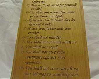 Personalized Ten Commandments Solid Wood Plaque With Arched Top