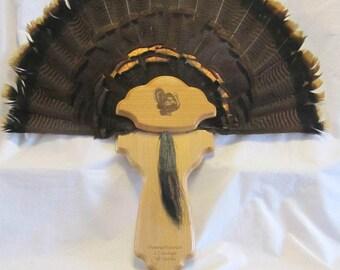 Hardwood Turkey Fan Taxidermy Mounting Plaque- Custom Engraved