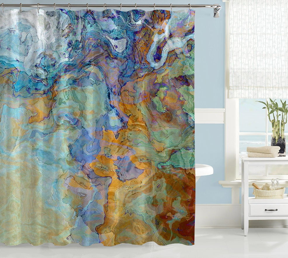 Contemporary shower curtain abstract art bathroom decor for Paintings for bathroom decoration