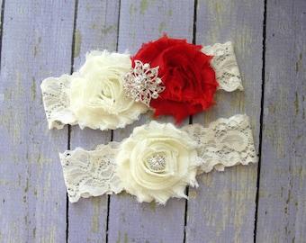 Garter Wedding, Red Garter Set, Ivory Garter, Custom Garter, Garter Sets, Bridal Garter, Wedding Garter Belt, Thigh Garter, Red Wedding