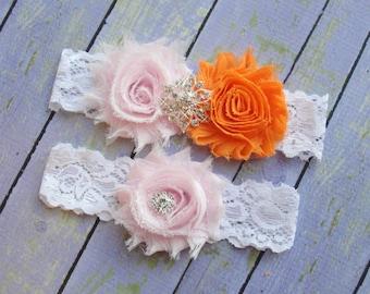 Pink and Orange Garter, Tangerine Garter, Petal Garter, Pale Pink Wedding, Leg Garter, Garter Belt, Bridal Garter Set, Keepsake Garter