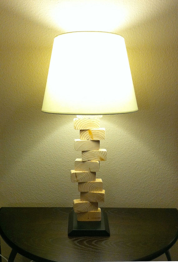 wood table lamp with dimmer and led options tall version wood block. Black Bedroom Furniture Sets. Home Design Ideas