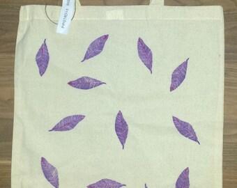 Hand stamped  Tote Bag 100% cotton,leaf bolsa tote bag