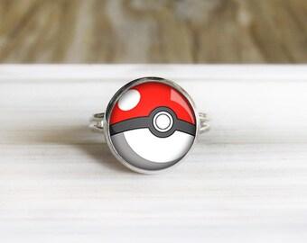 Pokeball Ring - Silver Gamer Ring - Adjustable Silver Ring