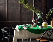 Emerald Big Spot Table Cloth 150cm x 230cm - Screenprinted natural cotton and flax - AURAhome