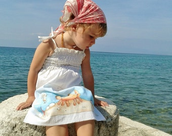 Hand painted Girl's Dress, Girl's summer dress, Poplin cotton girl's dress, marine motif dress, Crab, Starfish, Seahorse, unique dress
