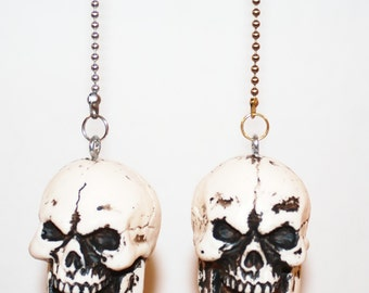 Skull Ceiling fan/light pull chain or Paperweight ---unique