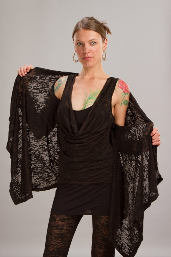 Calico Asymmetrical Women's Jacket in Black for Womens Boho Chic Fashion