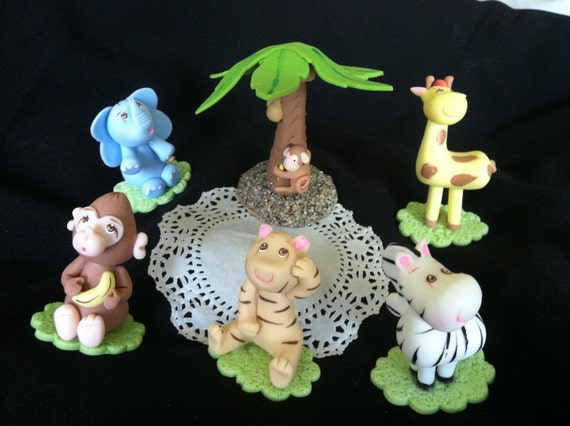 JUNGLE CAKE TOPPERS Jungle Baby Shower by CakeToppersBoutique