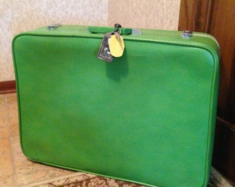Vintage Sears Featherlite green luggage suitcase