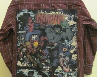 Upcycled Marvel Comics dress shirt, Urban Pipeline, size Small 8