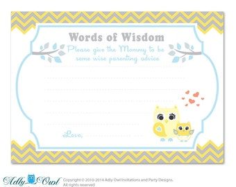 yellow gray boy owl words of wisdom advice card for baby shower