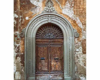 Lucca Italy photograph of door, Tuscan archway Photography, Tuscany Wall Art, Wood, Stone - Lucca's Arch (Vertical. See full image)