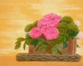 Original Pastel Drawing: Flower Basket