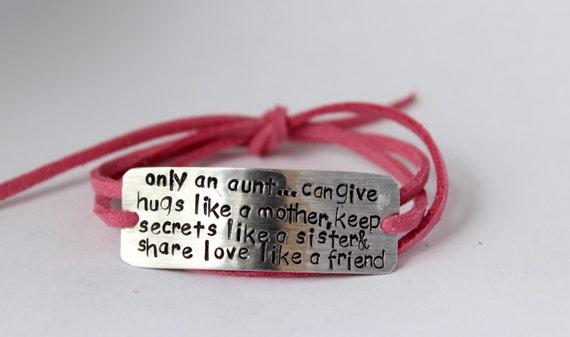 handstamped aunt bracelet gift for aunt aunt quote auntie