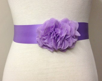 Bridesmaid Sash-Light Purple Sash-Bride Sash-Bridal Sash-Lilac Sash-Purple Sash-Lavender Wedding Sash-Ruffle Chiffon Flower Hyacinth Sash