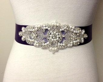 Plum Sash-Plum Belt-Bridal Sash-Rhinestone Sash-Purple Bride Belt-Pearl Belt-Purple Belt-Wedding Belt-Rhinestone Pearl Applique Sash