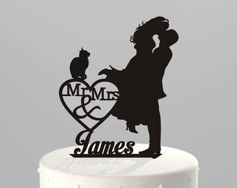 Wedding Cake Topper Silhouette Couple Mr Mrs Personalized With Last Name And Cat Acrylic