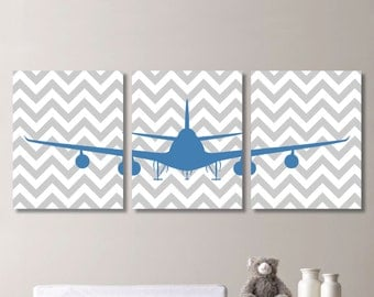 Baby Boy Nursery Art Print - Airplane Nursery Art - Boy Nursery Decor - Airplane Art - Airplane Nursery - Airplane Decor. Gray Blue (NS-292)