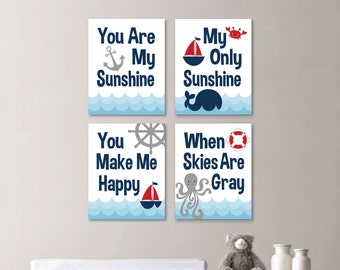 Baby Boy Nursery Art Print - You Are My Sunshine Nursery - You Are My Sunshine Wall Art - Boy Bedroom - Nautical Art - Navy Red (NS-657)