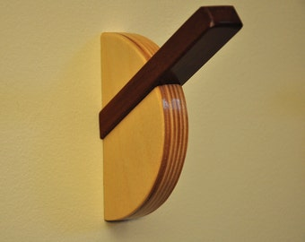 Modern Wall Hook, SUNDIAL HOOK in Brazilian Cherry and Baltic Birch. Coat Hook, Towel Hook, Robe Hook, Key Hook, Backpack Hook