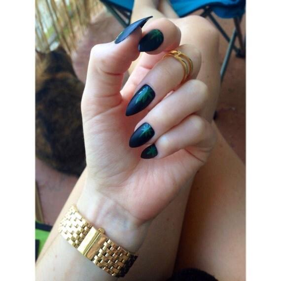 Matte Black Weed Leaf Nails