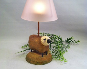 Rustic Sheep Candle Holder with Pink Glass Shade. FREE US SHIPPING!
