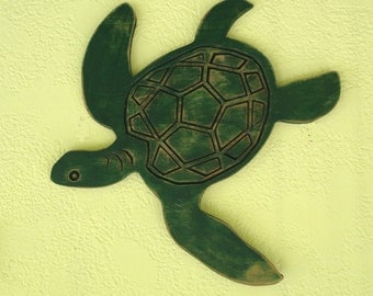 Wood Turtle. turtle Plaque, turtle swimming, shabby chic turtle, antiqued turtle, sea creatures, wooden turtles, tropical turtles,