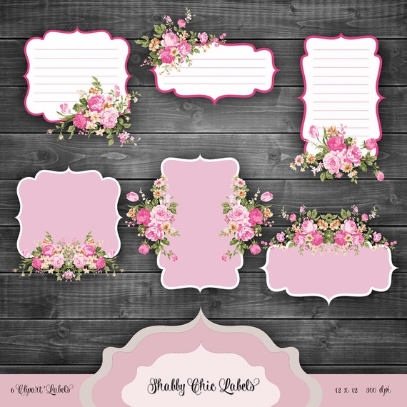 Super Valentines Shabby Chic Labels Digital Clipart Vintage floral RI89