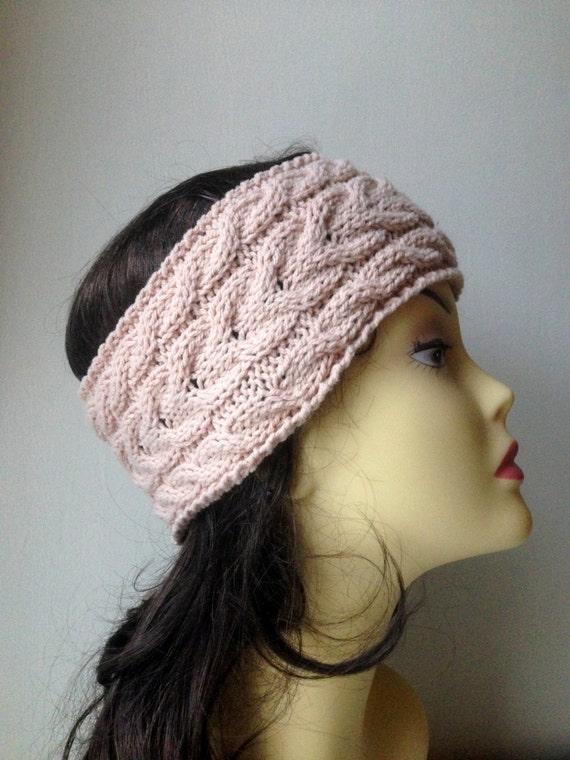 Beige Hand Knitted Headband, Hair Accessories, beige knitted headband, cable knit beige hairband, women knitted headband, winter accessory