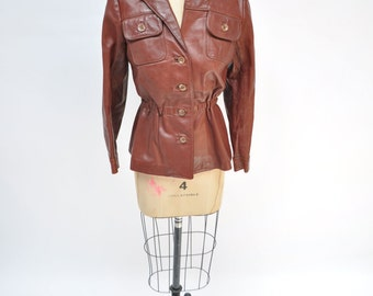 vintage leather jacket womens blazer coat paul louis 1960s 1970s hippie custom made small to medium