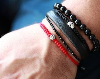 Mens Nylon Accent Bracelet with silver Accent   - Mens Bracelet