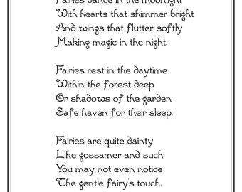 Fairies Dance in the Moonlight, Black and White, 8x10, Original Fairy Poem, DIY Printable, Instant Download