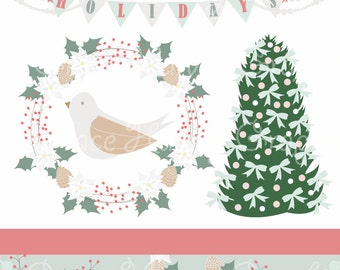 Instant download Clip art - Hand drawn digital illustrations, ShabbyChic Christmas, Christmas Cards, Scrap booking, digital paper,  PNG