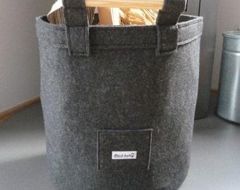Oval Felt Basket with Wooden Side Handles, log basket