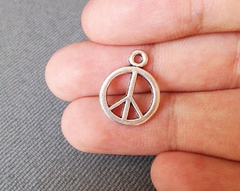 6 Peace Sign Charms - Silver Peace Charms, Peace Sign Pendant