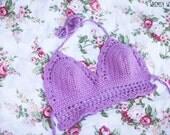 CUSTOM Scalloped Crochet Top - Hippie Festival Bikini Top - Boho Summer Lace Bralette - Crochet Crop Top - Made to Order