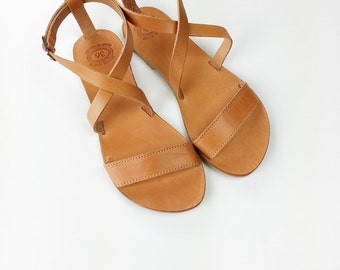 Open Toe Greek Leather Sandals - Women  Handmade Greek Sandals