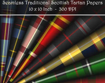 Seamless Traditional Scottish Clan Coloured Tartan. Digital Papers. 10 Inch 300 DPI