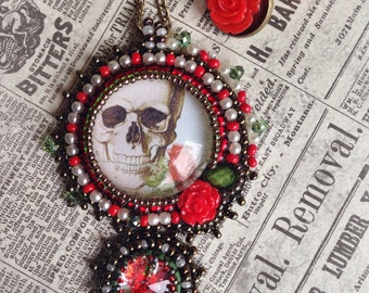 Bead embroidered Romantic Skull Pendant & FREE earrings