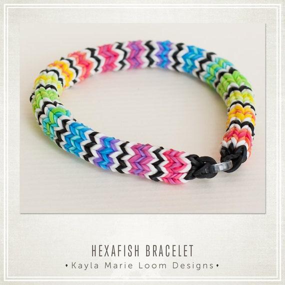 items similar to hexafish rainbow loom bracelet party