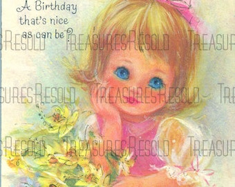 Happy Birthday 2 Year Old Blue Eyed Girl Card #58 Digital Download