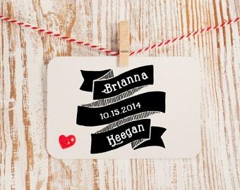Custom Wedding Stamp, Custom Invite Stamp, Wedding Vintage Stamp, Save the Date Stamp, Wedding Favor, Custom Banner Stamp Style No. 16W