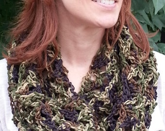 Crochet Infinity Scarf, Crochet Circle Scarf, Teen, Women, Camouflage Scarf