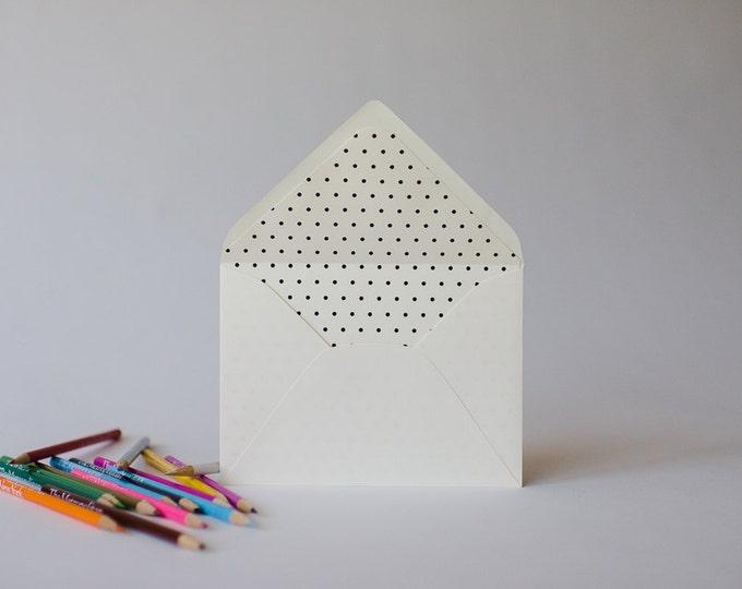 polka dot lined envelopes (25 color options) - sets of 10