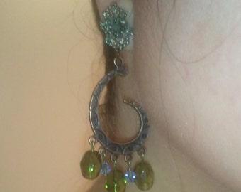 Copper Swirl Earrings w/ Vintage Metalwork Posts & Beads, Blue Swarovski Crystals, Vintage Green Glass Beads, Dangle Chandelier Jewelry